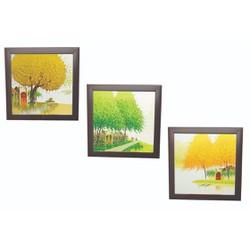 Tranh Sơn Dầu Họa Sỹ Vẽ  - combo 3 bức kèm khung - móc treo