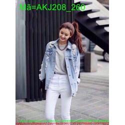 Áo khoác Jean nữ tay dài rách bụi bặm cá tính AKJ208