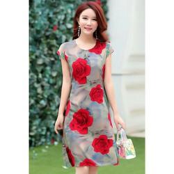 Đầm suông hoạ tiết hoa hồng