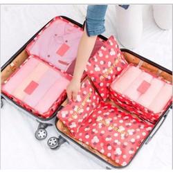Bộ 6 túi du lịch tiện ích họa tiết hoa, phong cách Hàn Quốc