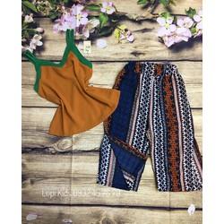 Set bộ áo yếm quần thổ cẩm cho bé gái