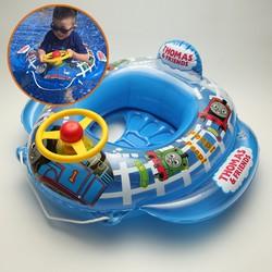 Phao bơi trẻ em bé trai xe lửa Thomas có bánh lái đáng yêu