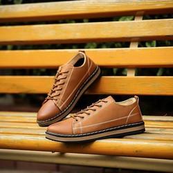 Giày Da Nam Phong Cách Hàn Quốc Màu Nâu