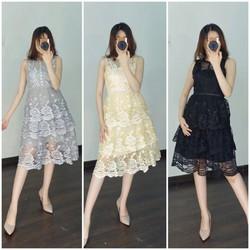 Đầm xòe ren ba tầng cao cấp 6 màu hồng, kem, xám, đỏ, đen, trắng