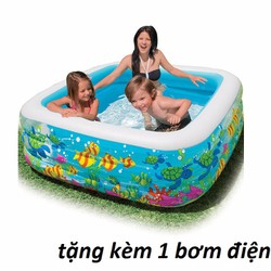 bể bơi 3 tầng loại đại-tặng kèm bơm điện 2 chiều