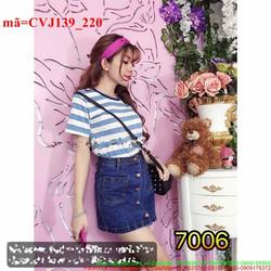 Chân váy jean bấm nút túi bản thời trang CVJ139