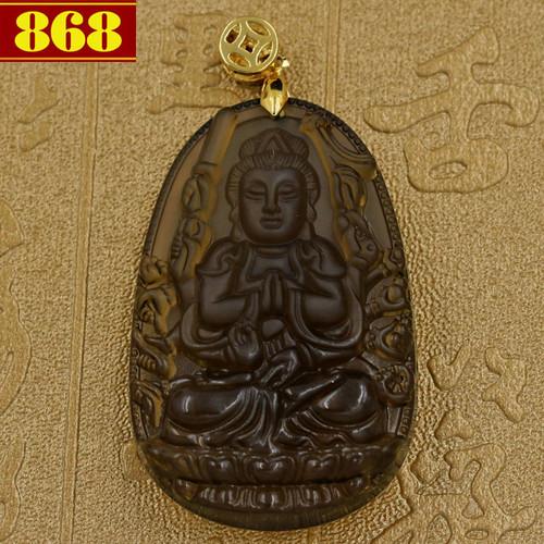 Mặt dây chuyền Thiên Thủ Thiên Nhãn Obsidian 5cm - Phật bản mệnh tuổi Tý