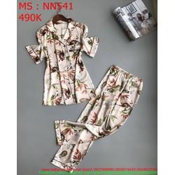 Bộ đồ nữ mặc nhà dài vải hoa dễ thương NN541