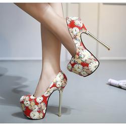 Giày cao gót không thấm nước kín mũi hisnestone in hoa và đồng hồ