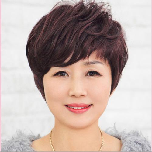 Tóc giả nữ trung niên quý phái Hàn Quốc tặng lưới-TG8955