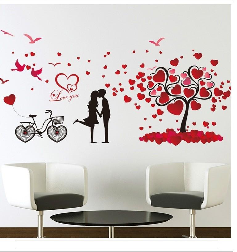 Decal tình yêu cặp đôi đỏ 3