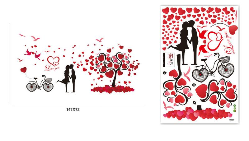 Decal tình yêu cặp đôi đỏ 5