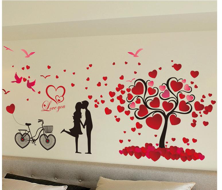 Decal tình yêu cặp đôi đỏ 8