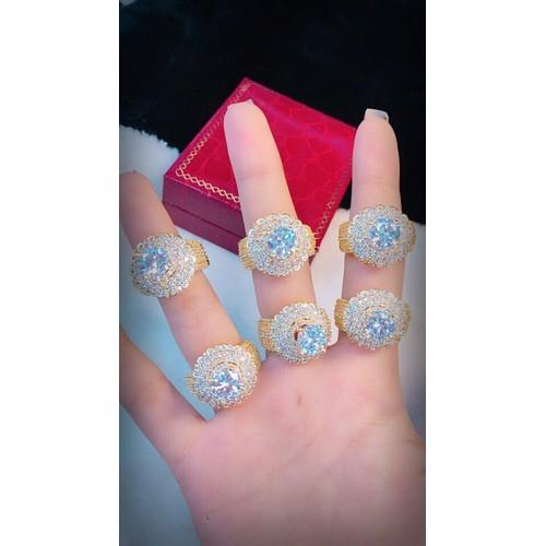 nhẫn nữ xoàn tròn dát vàng 18k