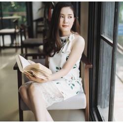Đầm hoa lá phối chân ren cao cấp