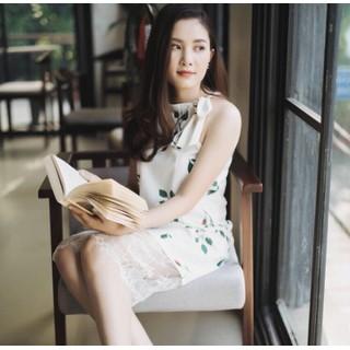 Đầm hoa lá phối chân ren cao cấp - Đầm hoa phối ren cao cấp thumbnail