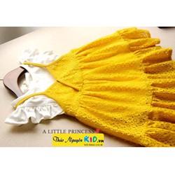 Sét váy yếm ren vàng áo cotton