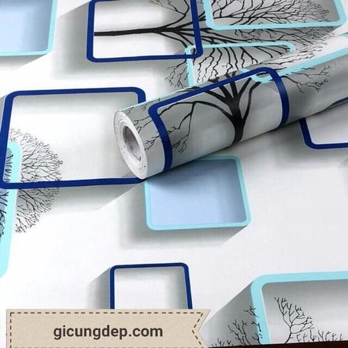 10m Giấy dán tường có sẵn keo khung vuông màu xanh 3D