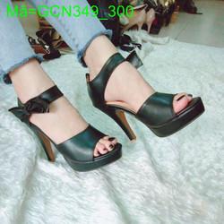 Giày cao gót nữ quai ngang phối nơ bản thiết kế sang trọng GCN349