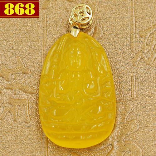 Mặt Phật Quan âm nghìn tay nghìn mắt hoàng ngọc 3.6 cm