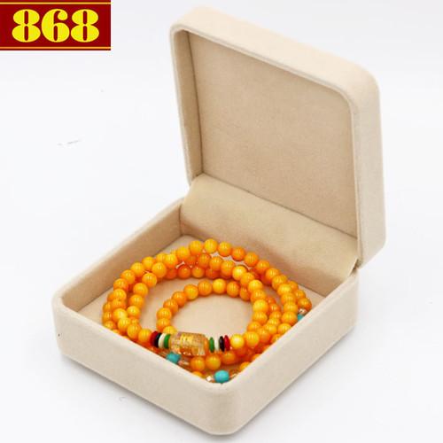 Vòng chuỗi 108 hạt đá thạch anh vàng BBD7 kèm hộp nhung