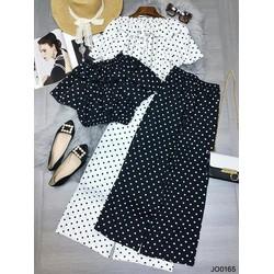 Set áo bi croptop trễ vai và quần dài
