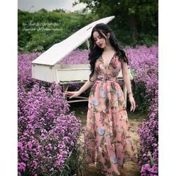 Đầm maxi hoa chéo lưng