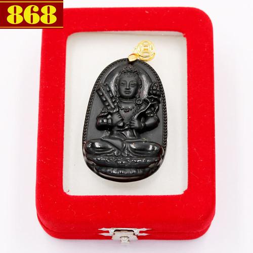 Mặt Phật Hư Không Tạng đen 4.3cm kèm hộp nhung