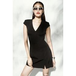 Đầm đen thiết kế tay con cổ chữ V 2053