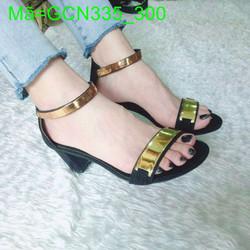 Giày cao gót nữ quai ngang phối khóa vàng thiết kế sang trọng GCN335