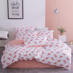 Bộ chăn ga cotton poly - Dưa hấu hồng