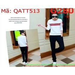 Sét thể thao nữ áo dài tay sọc viền đỏ và quần dài thời trang QATT513