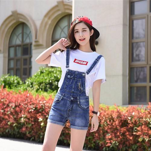 Quần yếm nữ short jeans dày dặn trẻ trung năng động Hàn Quốc
