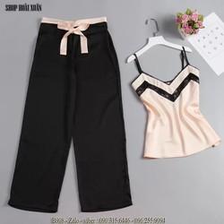 Bộ đồ mặc nhà quần dài áo hai dây phi hàng xuất khẩu - B908 2 màu