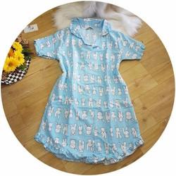 Đầm ngủ, váy ngủ nữ dễ thương thỏ xanh