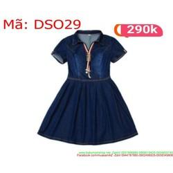 Đầm xòe tay con vải jean viền sọc đỏ sành điệu DSO29
