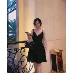 Đầm đen xoè phối lưới ren tay
