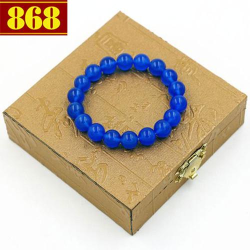 Vòng chuỗi thạch anh xanh dương 10 ly 18 hạt kèm hộp gỗ