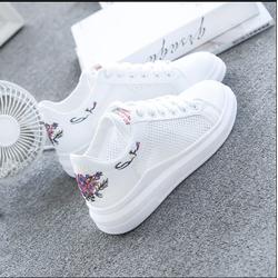 Giày trắng nữ mùa hè 2018, giày thể thao, giày lưới trắng