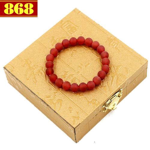 Vòng tay thạch anh đỏ mài mờ 8 ly 22 hạt kèm hộp gỗ