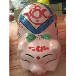 Lợn sứ tiết kiệm chữ Lộc màu hồng
