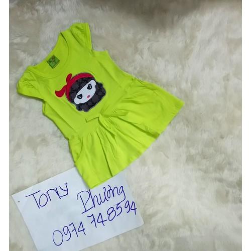 Đầm thun bé gái thêu hình dễ thương 10_24 kg