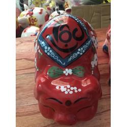 Lợn sứ tiết kiệm tiền màu đỏ