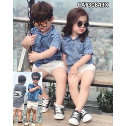 Quần áo trẻ em -Áo Jean đuôi tôm cá tính cho bé từ 1-8 tuổi