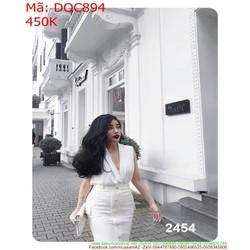 Đầm ôm sát nách xẻ cổ V đính nút sành điệu thời trang DOC894
