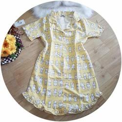 Đầm ngủ, váy ngủ nữ kate Thái cao cấp thỏ vàng