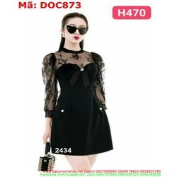 Đầm ôm phối ren lưới đen sang trọng cá tính DOC873