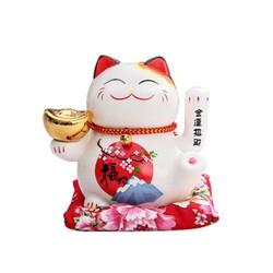 Mèo thần tài Maneki Neko ĐĨnh vàng ngân lượng vẫy tay kèm sạc 16cm