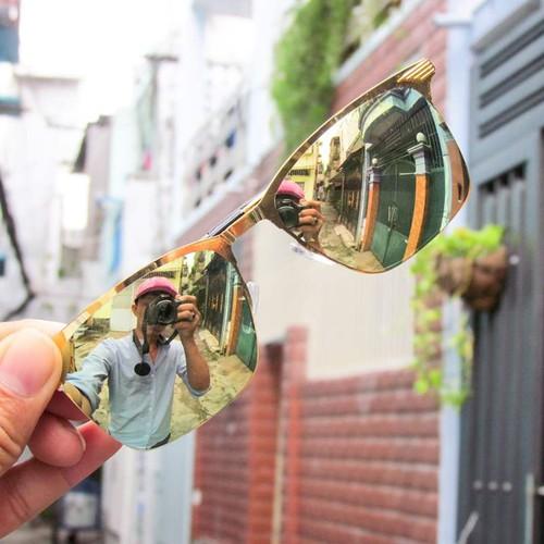 Kính mát tráng gương ánh vàng gọng kẻ sọc đẹp thời trang - KM5707