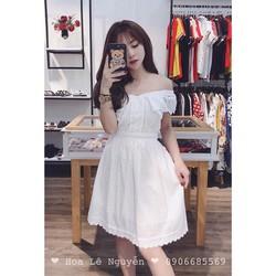 Đầm trắng xoè bẹt vai nhẹ nhàng trẻ trung
